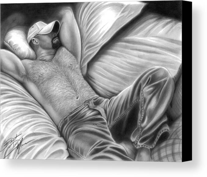 Men Canvas Print featuring the drawing Afternoon Nap by Brent Marr
