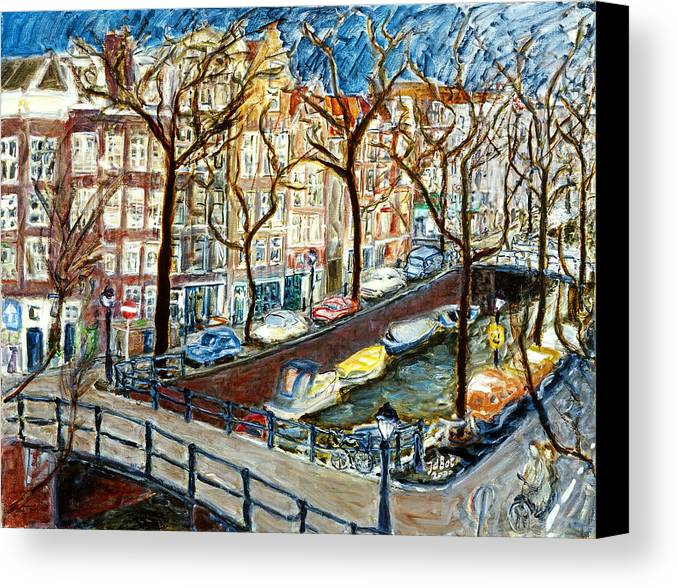 Cityscape Amsterdam Canal Trees Bridge Bicycle Water Sky Netherlands Boats Canvas Print featuring the painting Amsterdam Canal by Joan De Bot