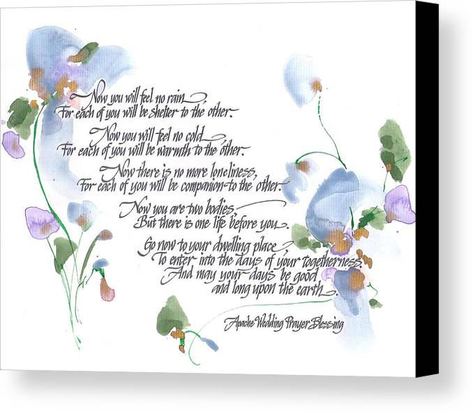 Greeting Card Canvas Print featuring the painting Apache Wedding Prayer Blessing by Darlene Flood