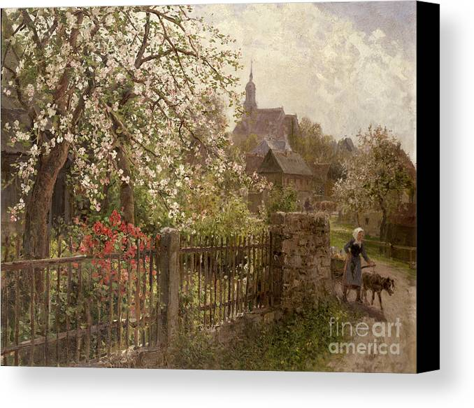Apple Canvas Print featuring the painting Apple Blossom by Alfred Muhlig