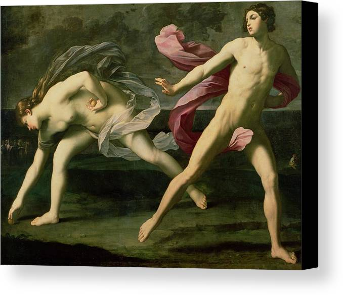 Atalanta And Hippomenes Canvas Print featuring the painting Atalanta And Hippomenes by Guido Reni