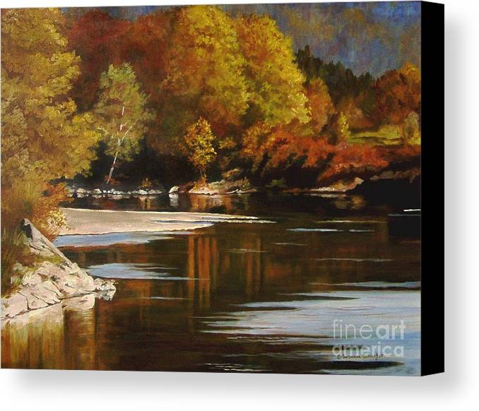 Scene Canvas Print featuring the painting Autumn Along The Stillaguamish by Suzanne Schaefer