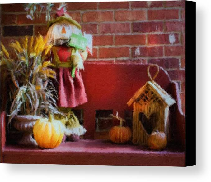 Autumn Fall Scarecrow Pumpkins Birdhouse Grass Bench Doorstep Front Door Brick Hello Greetings Orange Brick Red Planter Green Yellow Season Seasonal Welcome Midwest Leaves Change Of Colors Cool Scenic Canvas Print featuring the photograph Autumn Greetings by Diane Lindon Coy