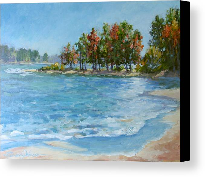 North Carolina Lake Canvas Print featuring the painting Autumn Shores - Jordan Lake by L Diane Johnson
