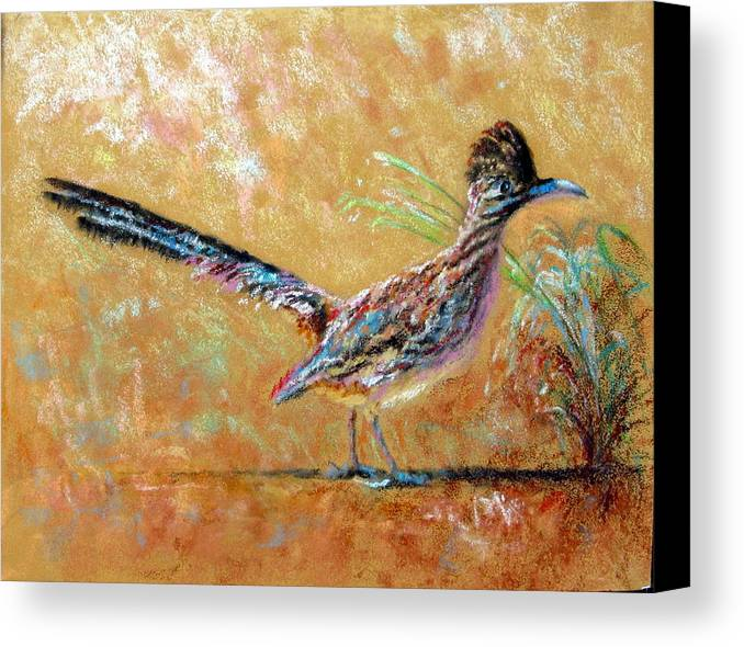 Baby Canvas Print Featuring The Painting Roadrunner By Shirley Leswick