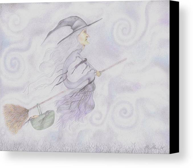 Megan Stone Canvas Print featuring the drawing Baby Won't Sleep by Megan Stone