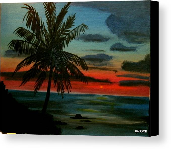Palm Trees Canvas Print featuring the painting Badtpalm by Robert Francis
