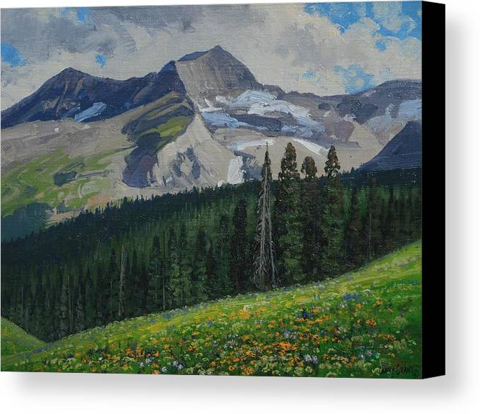 Landscape Canvas Print featuring the painting Bear Peak by Lanny Grant