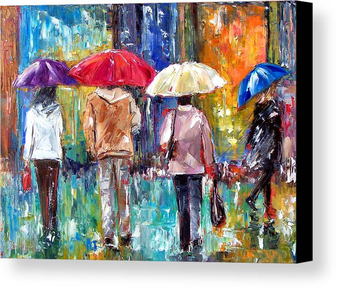 Rain Canvas Print featuring the painting Big Red Umbrella by Debra Hurd