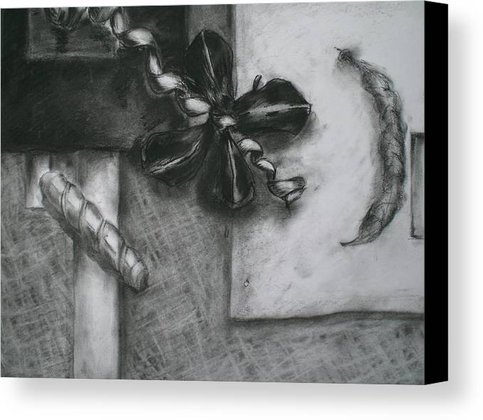 Still Life Canvas Print featuring the drawing Black And White Composition IIi by Aleksandra Buha