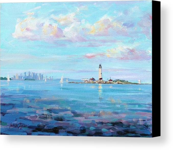 Seascape Canvas Print featuring the painting Boston Skyline by Laura Lee Zanghetti