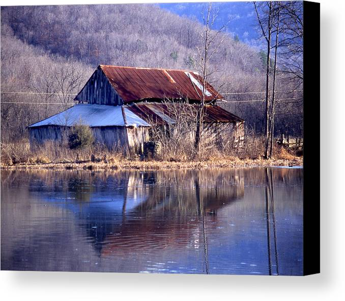 Canvas Print featuring the photograph Boxely Barn Reflection by Curtis J Neeley Jr