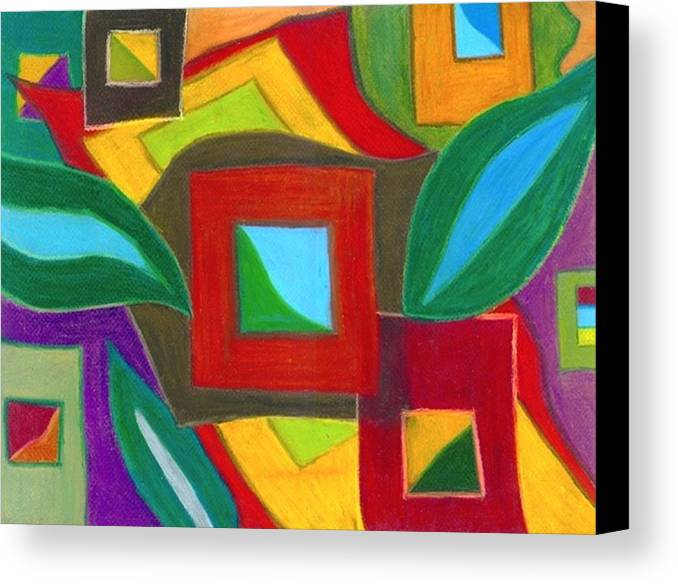 Abstract Drawings Canvas Print featuring the drawing Boxesleaves2 by Katina Cote