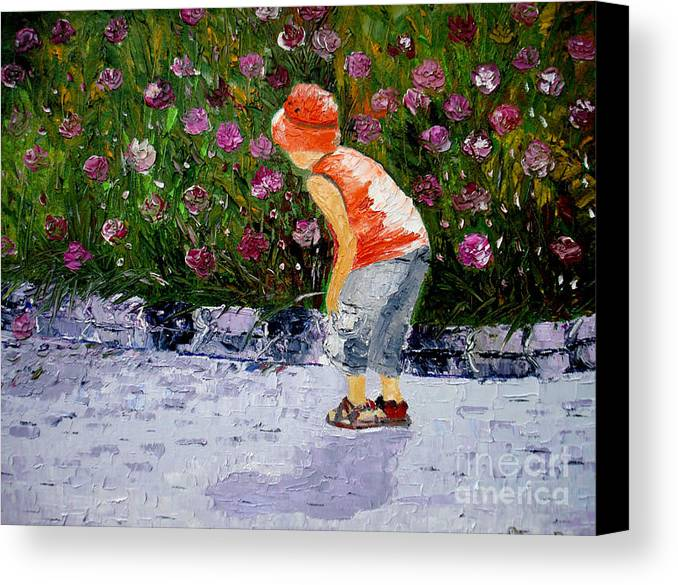 Boy Canvas Print featuring the painting Boy Smeling Flowers by Inna Montano
