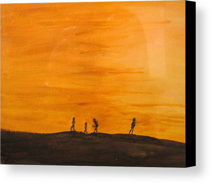Boys Canvas Print featuring the painting Boys At Sunset by Ian MacDonald