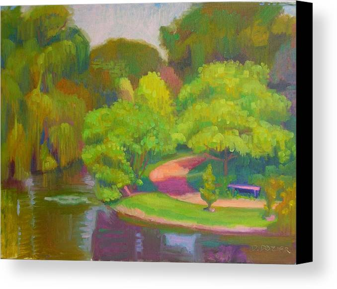 Landscape Canvas Print featuring the painting Bright Hazy Day Chicago Botanical Gardens by David Dozier