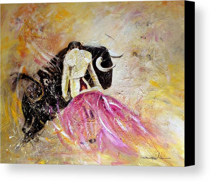 Animals Canvas Print featuring the painting Bullfight 74 by Miki De Goodaboom