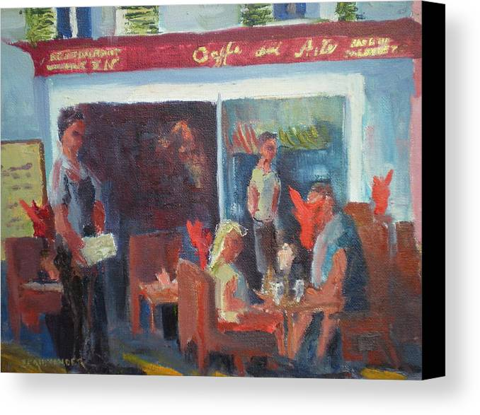French Cafe Canvas Print featuring the painting Cafe Dell Arte by Bryan Alexander