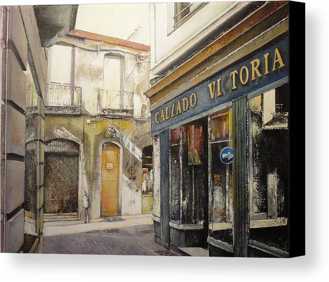 Calzados Canvas Print featuring the painting Calzados Victoria-leon by Tomas Castano