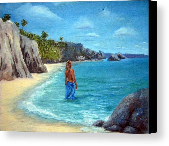 Landscape Canvas Print featuring the painting Caribean Dreaming by Anne Kushnick