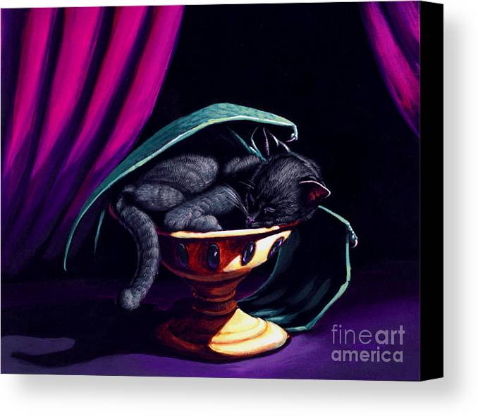 Cat Canvas Print featuring the painting Catabat Nap by Stanley Morrison