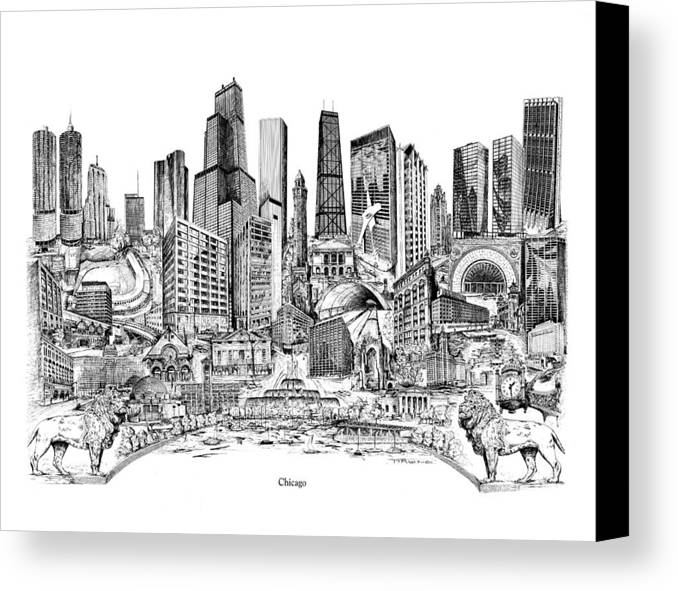 City Drawing Canvas Print featuring the drawing Chicago by Dennis Bivens