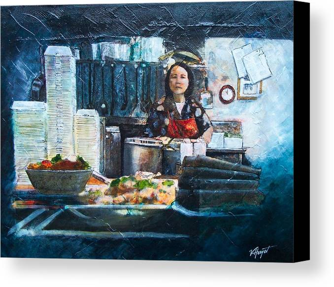 Chinese Canvas Print featuring the painting China Kitchen by Victoria Heryet