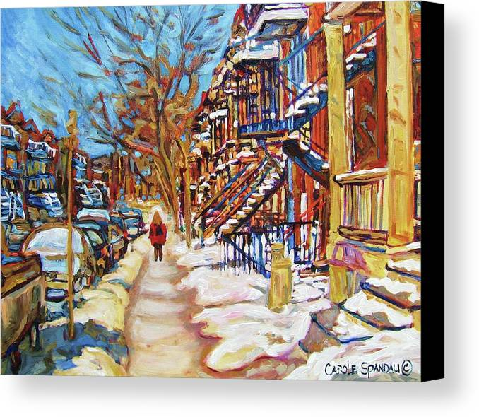 Montreal Canvas Print featuring the painting Cityscene In Winter by Carole Spandau