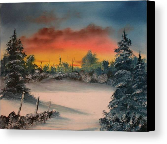 Oil Painting Canvas Print featuring the painting Cold Morning Sunrise by Larry Hamilton