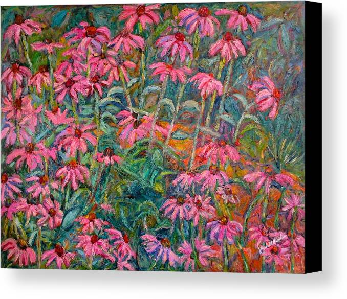Kendall Kessler Canvas Print featuring the painting Coneflowers by Kendall Kessler