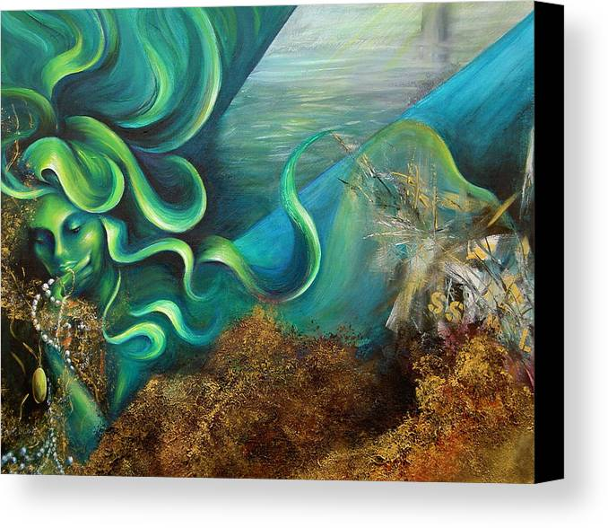 Ocean Canvas Print featuring the painting Confessions Of A Mermaid by Dina Dargo