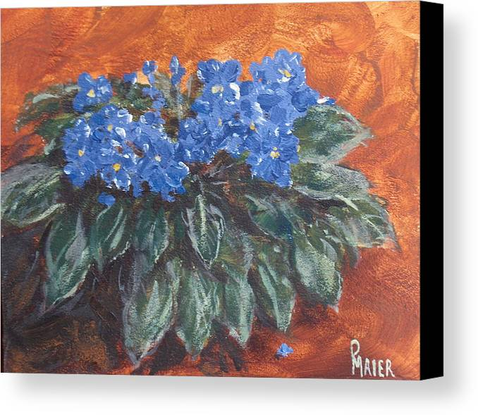 Violets Canvas Print featuring the painting D Violets by Pete Maier