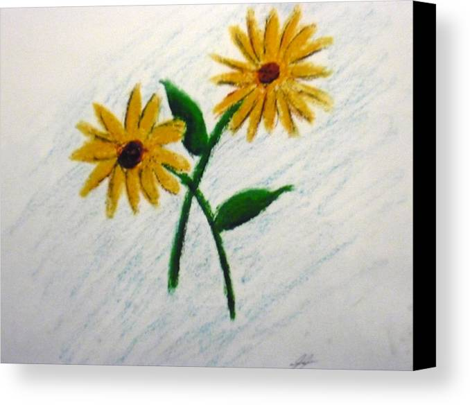 Flowers Canvas Print featuring the painting Daisies by Christian Hidalgo