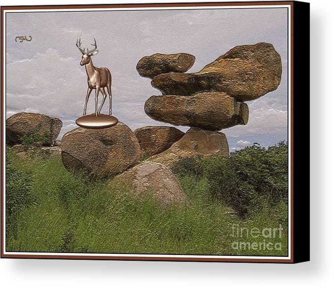 Modern Painting Canvas Print featuring the digital art Deer 11 by Pemaro