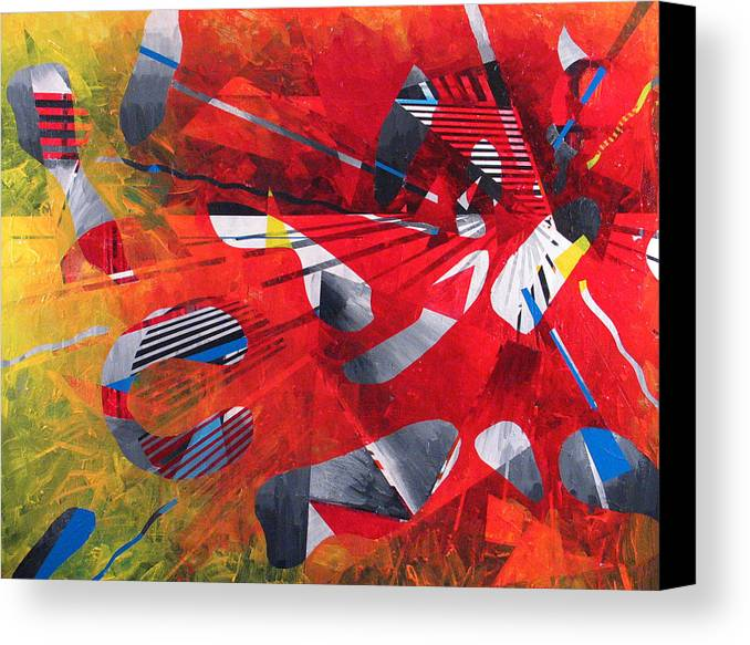 Red Canvas Print featuring the painting Delta Medley II by Rollin Kocsis