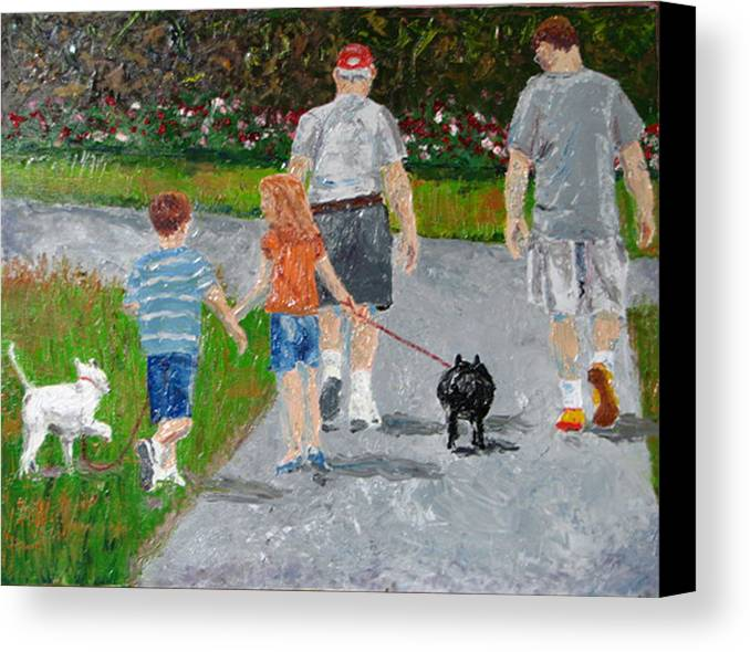 Figure Canvas Print featuring the painting Dog Walkers by Libby Cagle