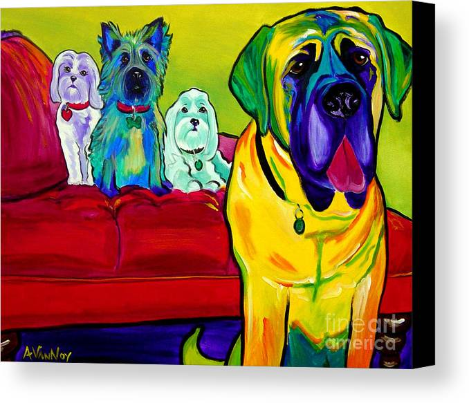 Dog Canvas Print featuring the painting Dogs - Droolers Get The Floor by Alicia VanNoy Call
