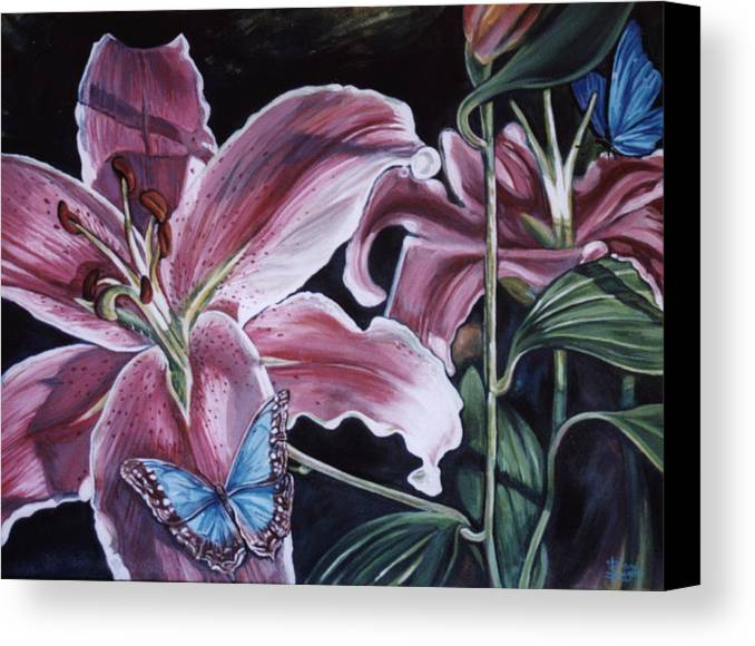Floral Canvas Print featuring the painting Donna's Flowers by Diann Baggett