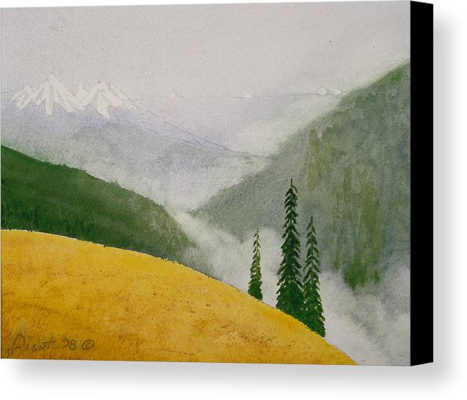 Landscape Canvas Print featuring the painting Elwa Mist by Buster Dight