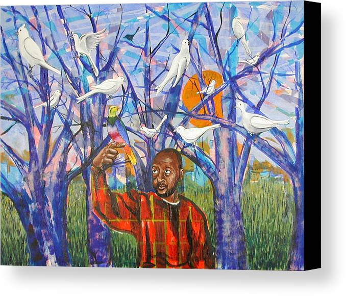 Black Canvas Print featuring the painting Epiphany by Rollin Kocsis