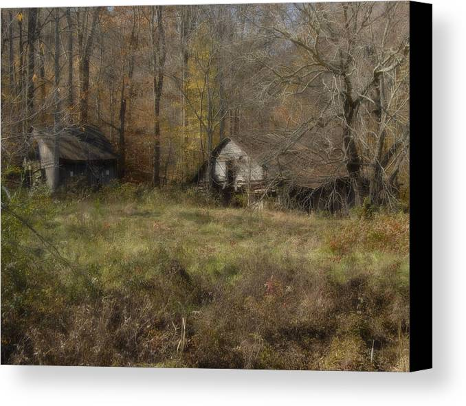 Two Barns In A Field Surrounded By Tree In Fall Colors Canvas Print featuring the photograph Fading Memories by Gregory Colvin