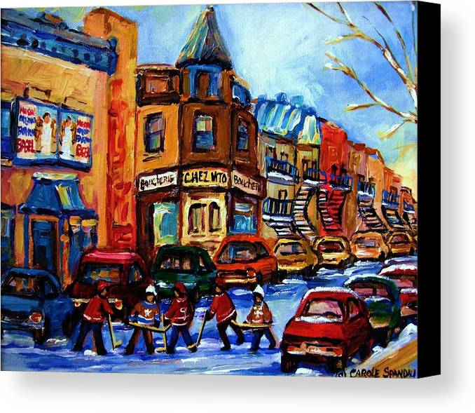 Hockey Canvas Print featuring the painting Fairmount Bagel With Hockey Game by Carole Spandau