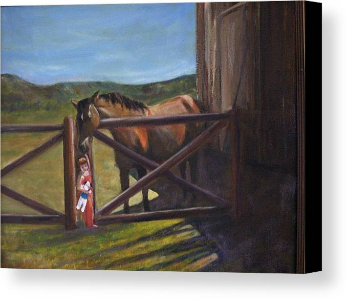 Horse Canvas Print featuring the painting First Love by Darla Joy Johnson