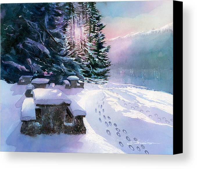 Landscape Canvas Print featuring the painting Foot Prints On Snow-port Moody by Dumitru Barliga
