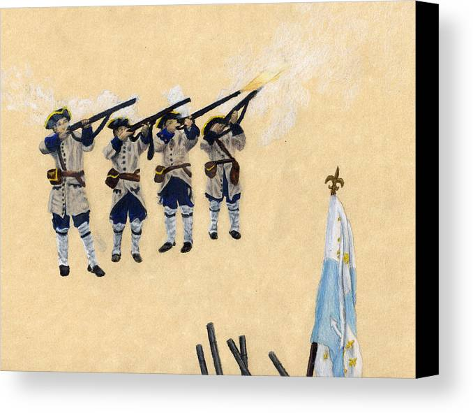 Fort Toulouse Canvas Print featuring the drawing Fort Toulouse Soldiers Firing by Beth Parrish