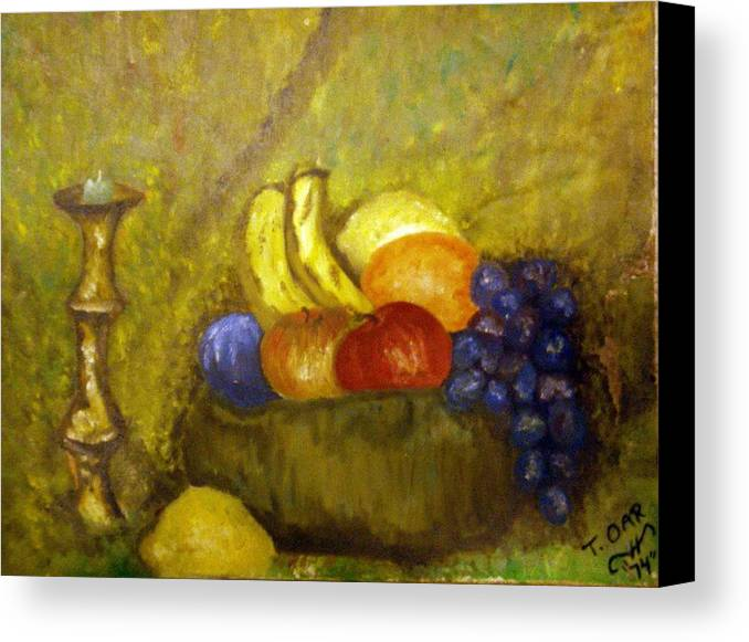 Still Life Canvas Print featuring the painting Fruitbowl And Candle by Tammera Malicki-Wong