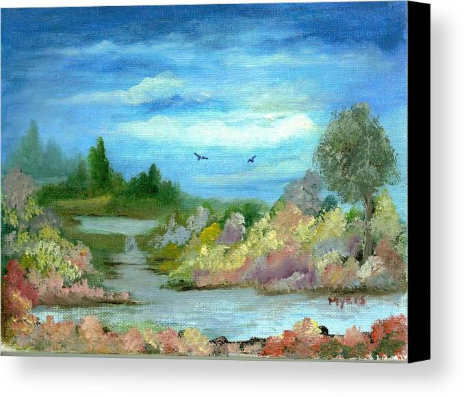 Sky Canvas Print featuring the painting Garden By A Stream by Rhonda Myers