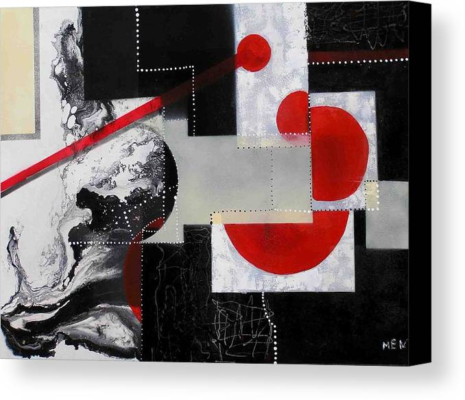 Canvas Print featuring the painting Geometry In Space by Evguenia Men