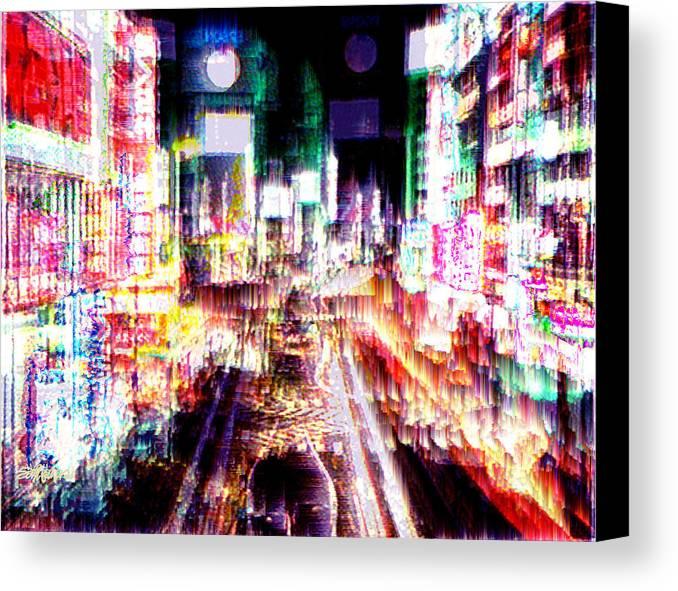 Tokyo Canvas Print featuring the digital art Ginsa Glitz by Seth Weaver