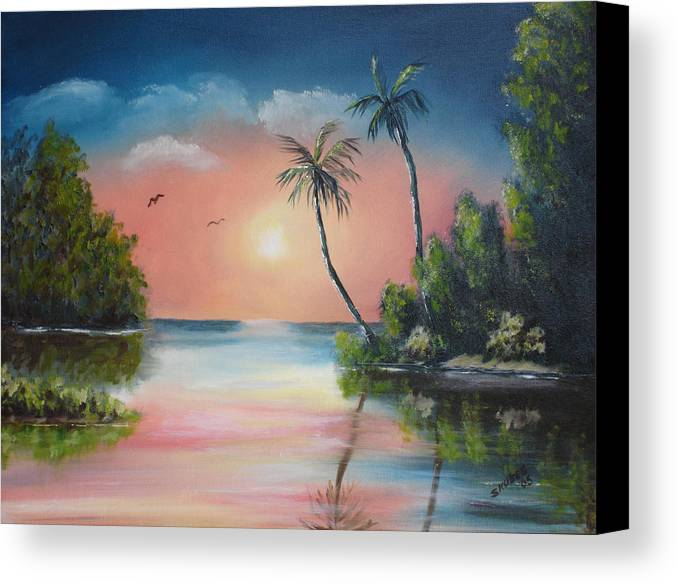 Sunset Canvas Print featuring the painting Gulf Coast Sunset by Susan Kubes